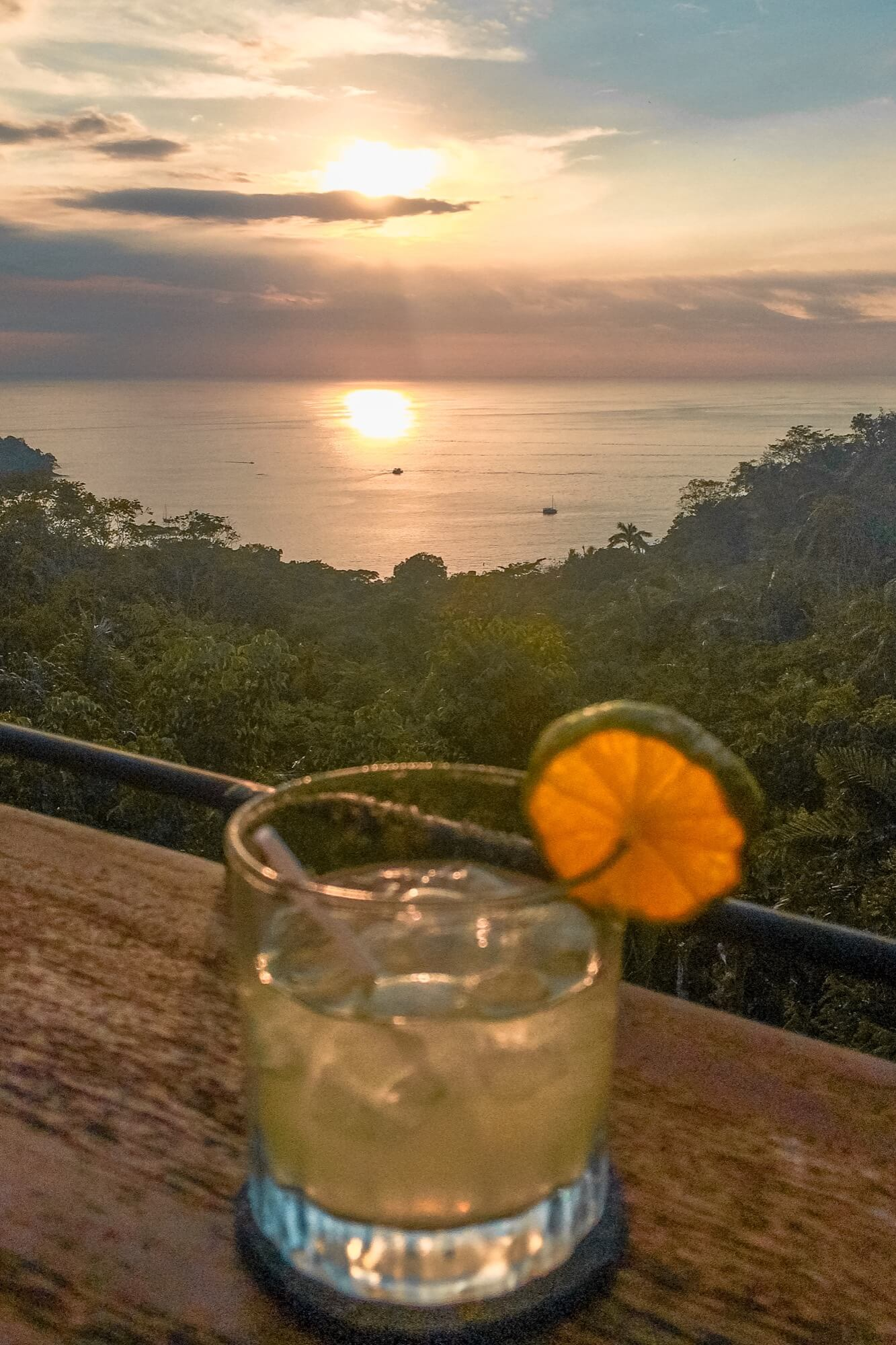 Bucket List Costa Rica sunset drink guarro